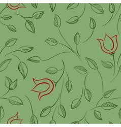 Leaves and flowers seamless pattern nature floral vector