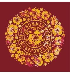 Grunge hibiscuses badge vector image