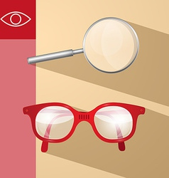 Magnifying glass and retro glasses vector