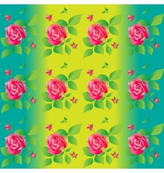Bright color seamless pattern with beautiful roses vector