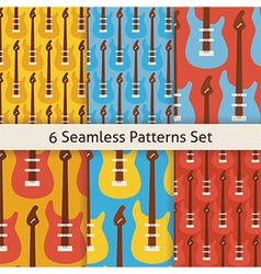 Six flat seamless rock music instrument guitar vector