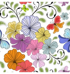 White seamless floral vector