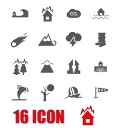 Grey disaster icon set vector