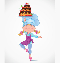 Baby cook with cake vector image