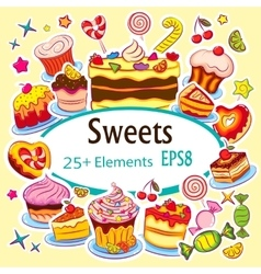 Beautiful sticker set holiday sweets vector