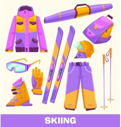 Skiing elements clothes and tools vector