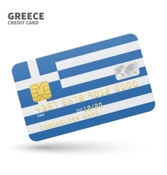 Credit card with greece flag background for bank vector