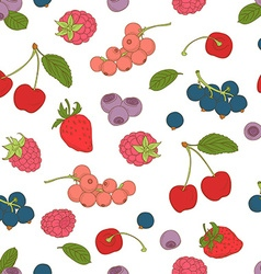 Outline hand drawn color seamless berry pattern vector