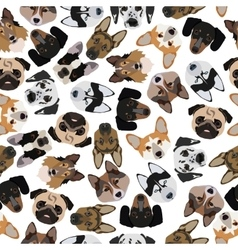 Flat seamless pattern pedigree dogs vector
