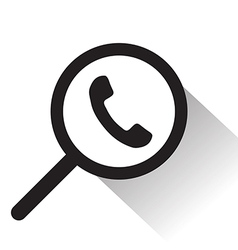 Magnifying glass with telephone icon vector
