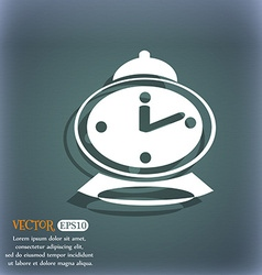 Alarm clock icon on the blue-green abstract vector