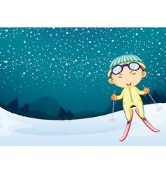 A kid enjoying the snow vector