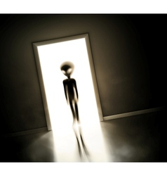 Alien at door vector