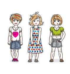 Beautiful little girls cute children standing in vector