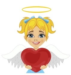 Blonde little girl angel holding red heart vector
