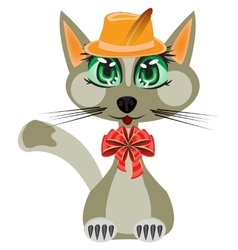 Cat in hat and with bow vector image vector image