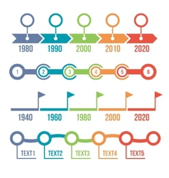 Colorful timeline infographic set vector