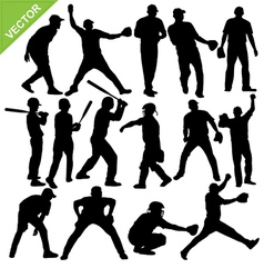 Cricket player silhouettes vector image vector image