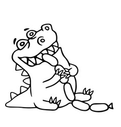 Dinosaur eats sausages isolated vector