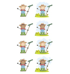 Farmer Kids With Rakes vector image vector image