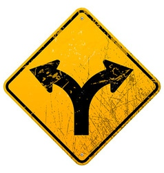 Forked road sign vector