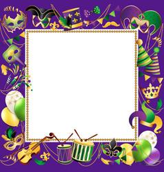 Frame template with golden carnival masks on black vector