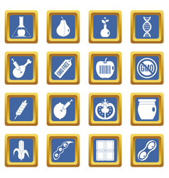 Gmo icons set blue vector