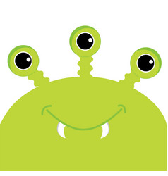 Green monster head with three eyes fang tooth vector