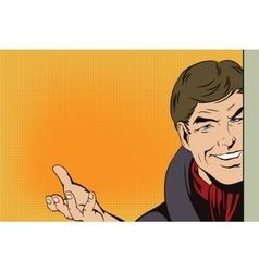 Happy man holding presentation board vector image