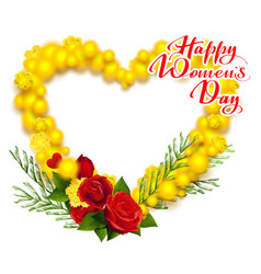 Happy womens day march 8 text yellow mimosa and vector