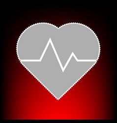 heartbeat sign postage stamp or old vector image