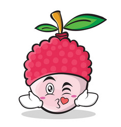 Kissing face lychee cartoon character style vector