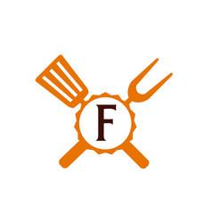 Logo restaurant letter f vector