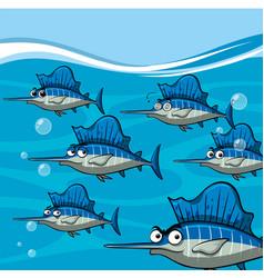 many swordfish under the ocean vector image vector image