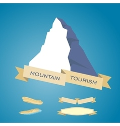 Mountains symbol with ribbon vector image