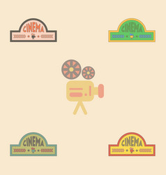 Movie sign collection in flat vector