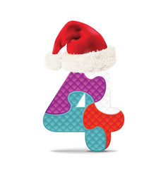 Number 4 written with alphabet puzzle vector image vector image