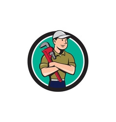 Plumber arms crossed circle cartoon vector
