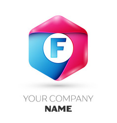 Realistic letter f in colorful hexagonal vector