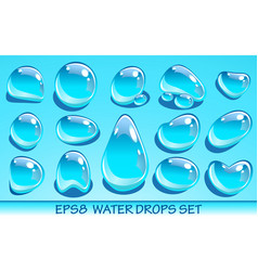 realistic water drops set useful for aqua icons vector image