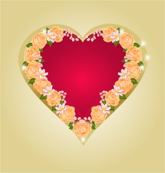Red heart with tea roses vector