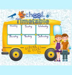 school bus image with timetable vector image