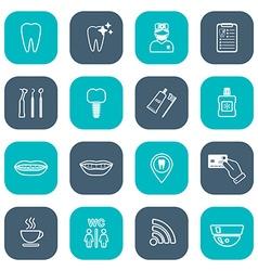 Set of linear dental icons Flat design White vector image