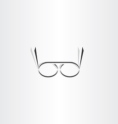 stylized black reading glasses icon vector image