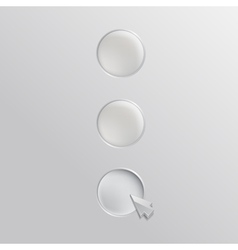 Three white buttons with cursor vector image