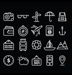 Travel pack icons vector