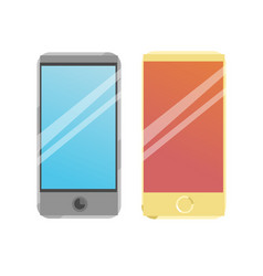 two smart phone icons on a blue background vector image