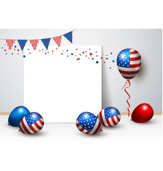 usa balloon and blank frame design vector image vector image