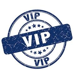 Vip blue grunge round vintage rubber stamp vector