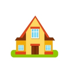 Three windows suburban house exterior design vector